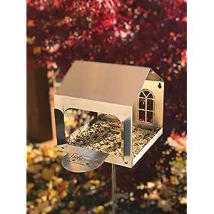 Vogelhaus aus Edelstahl 21x21x21cm Vogelfutterplatz 140cm hoch mit Bodenstab
