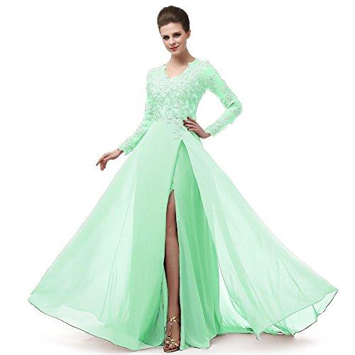 Bainjinbai Lange Chiffon Applikation Abendkleider BrautjungfernKleider Cocktail Party Kleider mit Schlitz Green