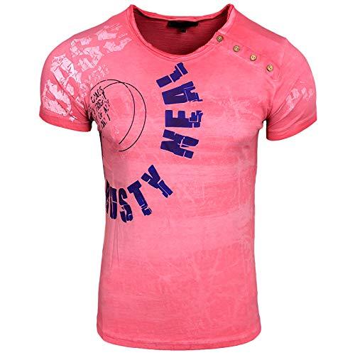 Rusty Neal Herren T-Shirt Bass Verwaschen Applikationen A1-RN-15157, Größe:M, Farbe:Coralle
