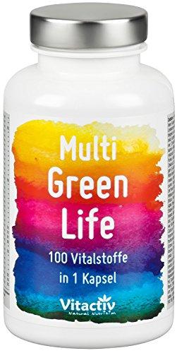 MULTI GREEN LIFE - Mehr als 100 natürliche Vitalstoffe - Multivitaminpräparat - Vitamine + Mineralien + und viel mehr (90 Kapseln)