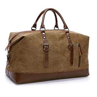 TILEMALL Oversized Canvas Holdall Travel Carry On Duffel Bags Plus Handbag Shoulder Bag Crossbody Overnight Weekend Bag Unisex Travel Holdall Handbag with PU Leather Handle (Coffee)