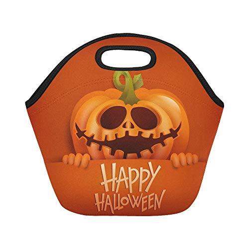 ttagessentasche Happy Halloween Card Smiling Pumpkin Character Große wiederverwendbare thermische dicke Mittagessen Tragetaschen Für Brotdosen Für den Außenbereich ()