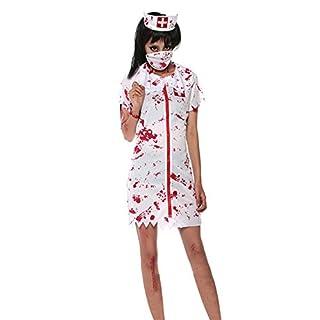 AIU Halloween Zombie Krankenschwester Kostüm mit Kopfbedeckung Masken (L)
