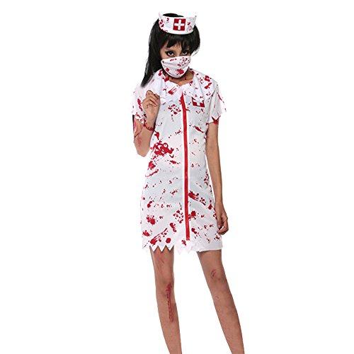 AIU Halloween Zombie Krankenschwester Kostüm mit Kopfbedeckung Masken -