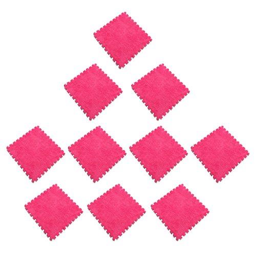 Sharplace Tapis de Puzzle en EVA Mousse Confortable Antidérapant Maison Bureau Décor 30pcs - Rose Rouge Blanc Brun