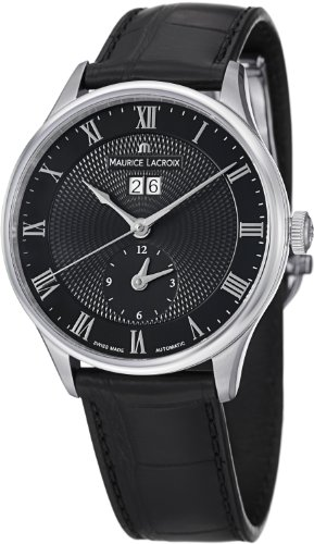 MAURICE LACROIX MASTERPIECE GMT MP6707-SS001-310 GENTS BLACK LEATHER 40MM WATCH