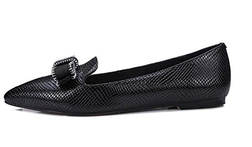 Beauqueen Fashion Slip-on Flat Mary Janes PU Haut Pointe-Toe Casual Work Shoes EU Taille 34-39 Black