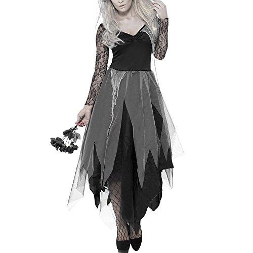 Halloween Kostüm Damen Zombie Braut Kostüm Leiche Vampir Gruseliger Effekt Kleid (Leiche Braut Halloween Kostüm)