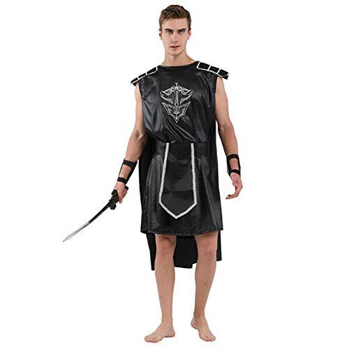 Krieger Geist Kostüm - Wtter Adult Mens Dark Gladiator Römisch Griechisch Krieger Kostüm Cosplay Halloween Geist Karneval Karneval Mittelalterliches Thema Kostüm,S