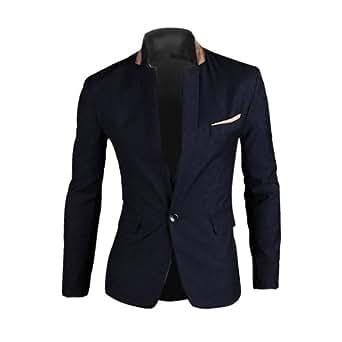 Veste de Costume 1 Bouton Blazer - Homme (L, Bleu foncé)
