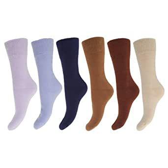 FLOSO - Chaussettes thermiques avec intérieur doublement brossé (lot de 6 paires) - Femme (EUR 37-41) (Marron/Tons de bleu)