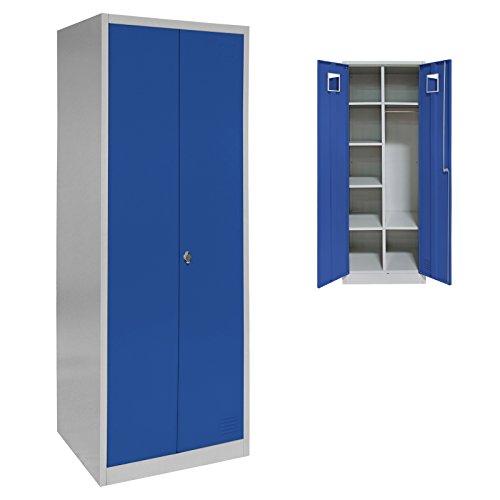 Spind Garderobenschrank Doppelspind Matallschrank 180 x 60 x 50 mit Flügeltüren, Einlegeböden und Kleiderstange, Farbe:Grau-Dunkelblau