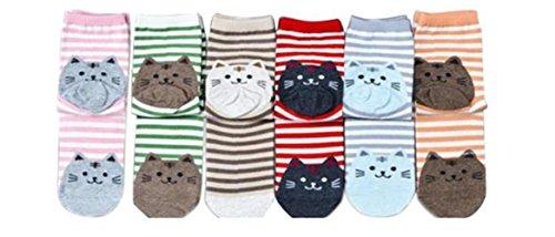 Calze Familizo 6pair Animali righe bella sveglia calzini del fumetto donne Cat Footprints cotone calzini del pavimento (6 tipi di colori)