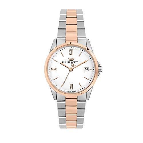 Philip Watch Orologio da donna, Collezione Capetown, con movimento al quarzo e funzione solo tempo con data, in acciaio e PVD oro rosa - R8253212503