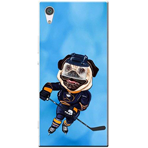 Eishockey-bilderrahmen (Eishockey Mops mit Schlittschuhen & Schläger Hartschalenhülle Telefonhülle zum Aufstecken für Sony Xperia XA1 Ultra)