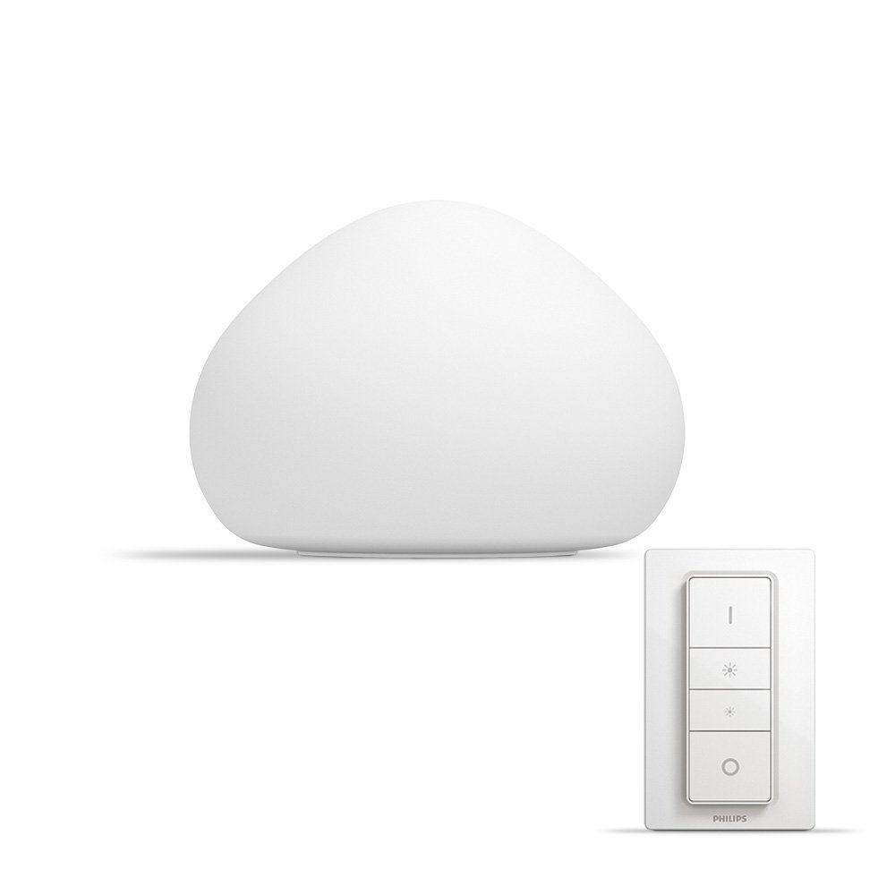 Philips Hue Wellner Lampe de Table  White Ambiance E27 9,5 W [Interrupteur avec Variateur Inclus], Lampe Connectée – Lampe  Led – Compatible avec Apple Homekit, Alexa