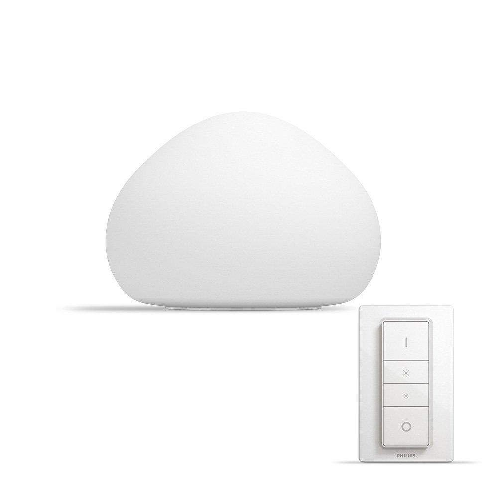 Philips Hue WellnerLampe de Table  White Ambiance E27 9,5W [Interrupteur avec Variateur Inclus], Lampe Connectée – Lampe  Led – Compatible avec Apple Homekit, Alexa