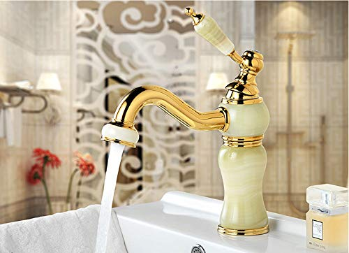 Gold Basin Taps (Makeyong New Deck Mounted Brass and Jade Faucet Luxury Bathroom Basin Faucet Mixer Tap Gold Sink Faucet Bath Water Faucet)