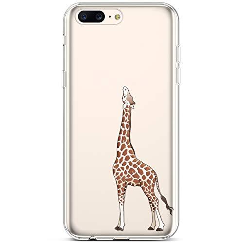 Rann.Bao Kompatibel mit One Plus 5 Hülle, Weiche Handy Hülle Transparente TPU Cover Schale mit Motiv Muster Tasche Case Ultra-dünne Slim Xmas HandyHülle Case,Giraffe + EINWEG Verpackung