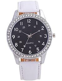 Kinlene Hermoso reloj niña de moda reloj simple Señoras correa de cuero reloj para regalo (White)