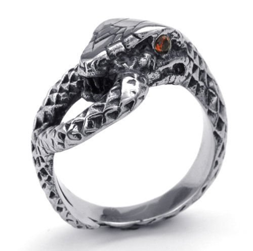 Schwarz Silber Rot Eye Ruby Rubin Snake Edelstahl Herren-Ringe Größe 57 (18.1) -- von Aooaz Schmuck