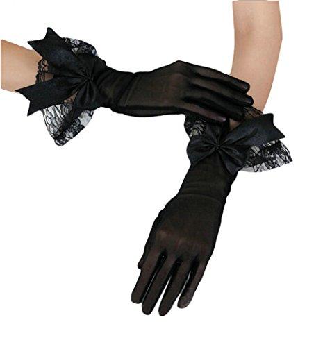 Doitsa Damen Handschuhe Spitze Handschuhe Vintage Entwurf für Leistung, Cosplay Show, Parties Schwarz und Golden Farbe (Spitzen Handschuhe Farbe)