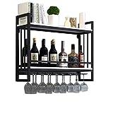 Soporte for copas de vino colgante   Estantes for vinos Montado pared Madera Metal   Estante del vino con sostenedor de cristal   Soporte for botellas de vino suspendido   Soporte Para Colgar Copas