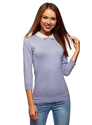 oodji Ultra Damen Pullover mit 3/4-Ärmeln und Verziertem Kragen, Violett, DE 38 / EU 40 / M -