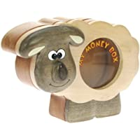 Money Box for kids & Adults : Wooden Piggy Bank for Children : Top Xmas Gift for Boys & Girls : Novelty Secret Lock!