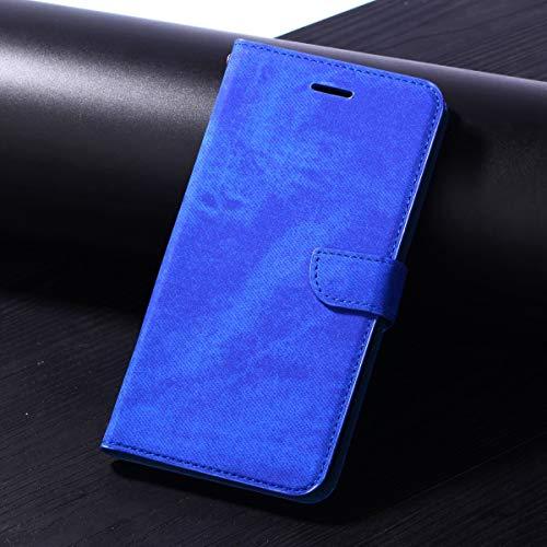 HHF Handy Zubehör Für Huawei Enjoy 7s / Huawei p smart, langlebig qualität Tuch Stoff prozess schützende Karte lagerung flip pu Leder Brieftasche case Abdeckung mit kurzen Sling (Farbe : Blau)