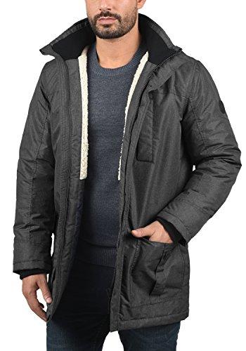 SOLID Octavus Herren Parka lange Winterjacke mit abnehmbarer Kapuze und Fellkragen aus hochwertiger Materialqualität Black Melange (9000M)