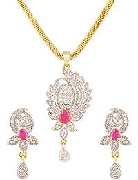 Swasti Jewels American Diamond CZ Zircon Fashion Jewellery Set Pendant Earrings For Women - B01C62MUXE