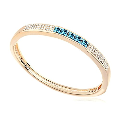 Adisaer Placcato Oro Bracciale Charms Donna Bracciali Amicizia Piazza Blu Diamante 6X5.2CM
