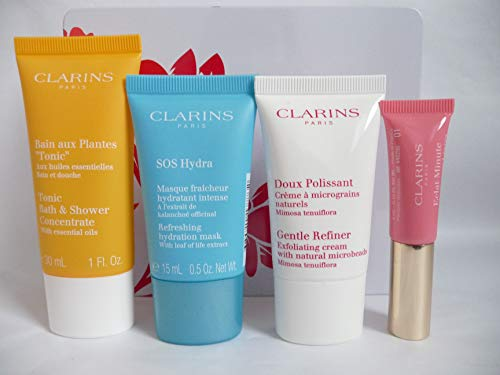 Clarins Essential Gesichts- und Körper-Geschenkset Tonic Bath Hydra Mask Refiner Lip Perfector -