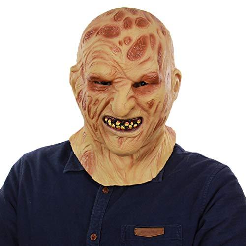 Xinwcanga Halloween Maske Gruselig Kopfmaske Erwachsene Latex Horror Maske für Fasching Festival Party Kostüm-Abendkleid Dekoration Cosplay (Braun, One size) Deluxe Latex Maske