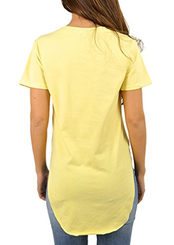 Bigood Sexy T-shirt Femme Chemise Top Manche Courte Haut Col Rond Lèvre Imprimé Soirée Casual Jaune