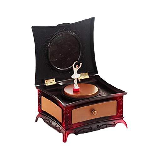 Kreative Kunststoff Ballett Tänzerin Schmuckschatulle Spieluhr Aufbewahrungskoffer Klassische Kommode mit Spiegel für Kleine Mädchen (Rot) -
