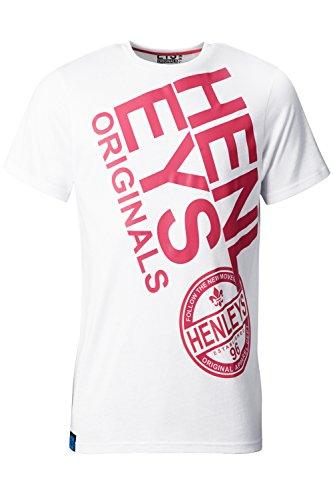 Henleys Herren Original Designer T-Shirts mit Rundhalsausschnitt Marken-Grafik bedruckt Tee Top Nes - Optic White