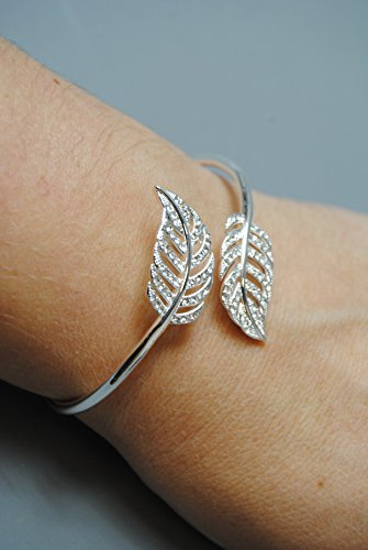 Ladies Silver Plated Open Bangle Bracelet with Leaf Feather and Diamante design