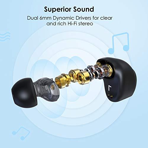 Auriculares Inalámbricos Bluetooth HolyHigh Auriculares Bluetooth 5.0 Deportivos 3000mAh Caja de carga 6mm Dual Dinámico Audio Estéreo Bajo Profundo Impermeable Micro para iPhone Sumsung Huawei Xiaomi