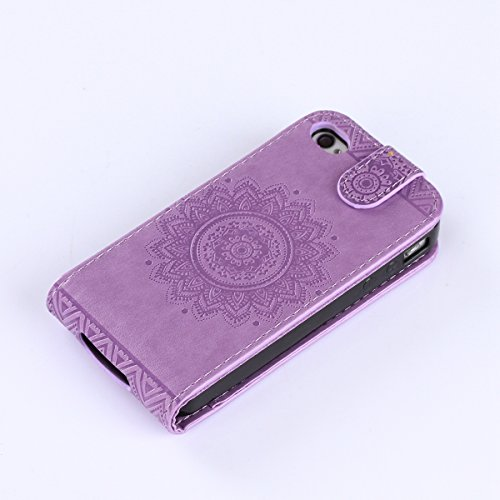 SainCat Coque Etui pour Apple iPhone 4 Cover Bumper,Anti-scratch Cuir Dragonne Portefeuille PU Cuir Etui pour iPhone 4s,Coque de Protection en Cuir Folio Housse,SainCat PU Leather Case Bling Diamond B Haut et bas ouvert-violet clair