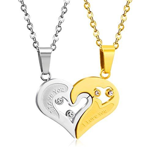 Luxusteel regalo ideale per san valentino, amore cuore coppia ciondolo collana puzzle abbinabili con zirconi,