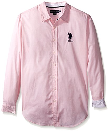 U.S. Polo Assn. Men's Big-Tall Slim Fit Striped Oxford Button Down Shirt, Pink Coral, 2X (Hemd Tall Big And Oxford)