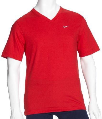 NIKE Herren T-Shirt SS V NECK TEE SOLID Red/White