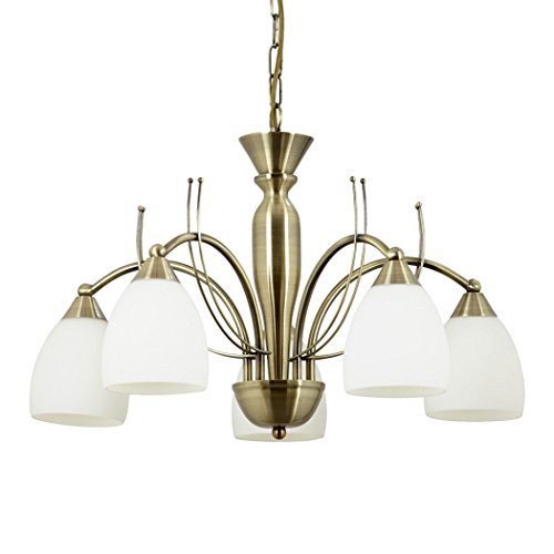 Endon Newman 5 arm ceiling light antique brass and glass (Newman-5AB)