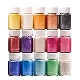 DEWEL 15er×10g (≈ 150g) Epoxidharz Farbe, Metallic Farbe Resin Farbe Seifenfarbe Set Pigment, Mica Pulver Powder für Seife Epoxy Epoxydharz Kunstharz Gießharz