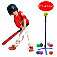 Macro Giant 27 Inch Safe T Ball, Tee Ball, T-Ball, 1 Foam Bat and 8 Foam Baseball Set for Kids, Assorted Color, Training Practice, Youth Batting Trainer, Beginner, School Playground, Kid Toy