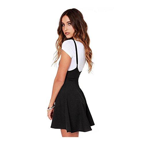 feiXIANG Damen Frauen Schlankes Hosenträger Kleid der Mode Schwarz Rock mit Schulterklappen Gefalteten Kleid (M, Schwarz) (Anzug Rock)
