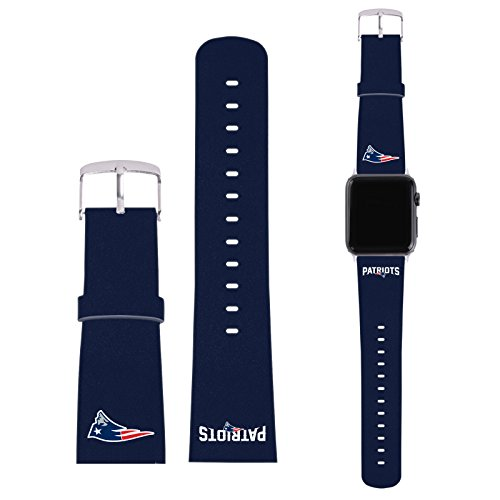 Offizielle NFL Einfarbig New England Patriots Logo Blau Synthetik-Lederband & Schnalle für 42mm Strap & Silver Adapter Kit
