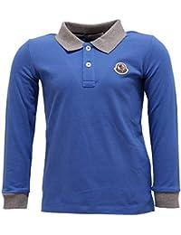 MONCLER 7390Y Polo Bimbo Boy Blue Grey Cotton Long Sleeve Polo t-Shirt 0164096c353